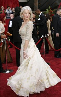 "Dame Helen Mirren, ""The Queen"", Christian Lacroix, Oscars She always looks so good. Oscar Gowns, Oscar Dresses, Helen Mirren Oscar, Helen Mirren Hair, Dame Helen, Oscar Fashion, 50 Fashion, Ageless Beauty, Red Carpet Looks"