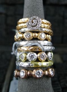 Pamela Froman 18K Gold and Diamond Stacker Rings
