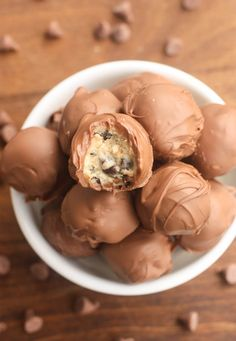 Chocolate Chip Cookie Dough Truffles are a simple, egg-free cookie dough dipped in melted chocolate! These bite-size treats are easy and delicious!
