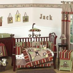 Let the little one in your home settle down to sleep in this incredible nursery set. This baby boy bedding set features jungle themed appliqués and embroidery works of monkeys and palm tree scenery. This collection uses the stylish colors of brown, camel, rust, avocado, and yellow.