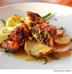 We have lemons, chicken, and potatoes at home. I like this recipe from WebMD!