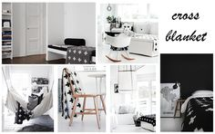 Ideas de decoración en tonos blanco y negro incorporando la famosa cross blanket #crossblanket #dormitorio #trenddecor