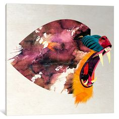 "East Urban Home Mandrill Graphic Art on Wrapped Canvas Size: 12"" H x 12"" W x 0.75"" D"