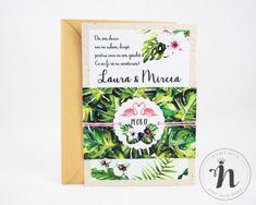 "Invitatii nunta moderne cu pasari flamingo – ""PENELOPE"" Modern, Trendy Tree"