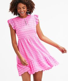 Shop Allamanda Floral Eyelet Flutter Sleeve Dress at vineyard vines Classic Outfits, Trendy Outfits, Size 6 Body, Preppy Dresses, Eyelet Dress, Trendy Tops, Flutter Sleeve, Vineyard Vines, Bodice