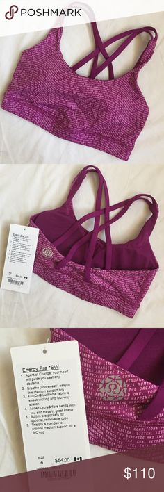 Lululemon Seawheeze Energy Bra Lululemon's Seawheeze 2016 exclusive runner's gear from the showcase. This adorable Energy Bra features Lululemon's mantra and bra cup pads.  I am a regular size 4 in Lululemon, and I found this bra a bit tricky to get on (but fine once on).  Brand new with tag! Comes with exclusive Seawheeze shopping bag. Please be respectful with your offers; I waited in line for four hours, and it was only offered at the race showcase. lululemon athletica Tops