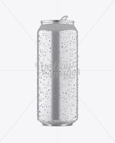 500ml Metallic Aluminium Can W/ Condensation Mockup – Front View
