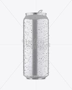 500ml Metallic Aluminium Can W/ Condensation Mockup - Front View