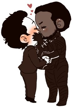 chibi ironpanther kisses would be the cutest trash ever