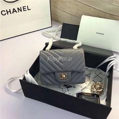 Replica Chanel Square Mini Chevron Flap 17cm in grey Lambskin Bag