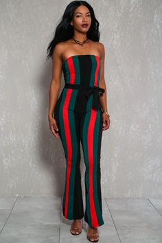 47eaa106a5b Sexy Black Striped Strapless Dressy Jumpsuit