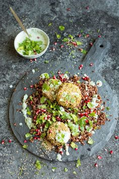 Spiced Chickpea Fritters with Wild Rice and Green Yoghurt Sauce