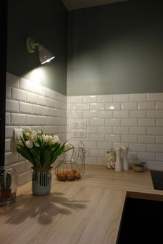 Kitchen, Metro Tile Tile, Greystone Color, Industrial Style Source by marinaprd Apartment Kitchen, Kitchen Interior, Interior Design Living Room, Kitchen Design, Metro Tiles Kitchen, Pastel House, Barbie Dream House, Green Kitchen, Kitchenette