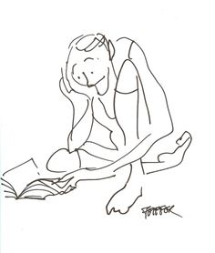 """""""Reading"""" -original illustration by Jules Feiffer available at the R. Michelson Galleries"""