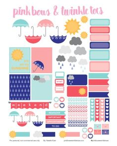 Free Spring Showers Planner Stickers: