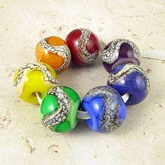 Rainbow Lampwork Glass Bead Set  $31.00