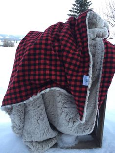 Excited to share this item from my shop: Rustic Buffalo Plaid Reversible Throw Blanket Red and Black with Faux Fur Minky