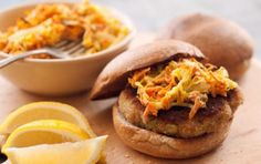 Seafood Burgers with Roasted Cabbage Slaw