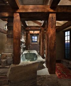 A dreamy mountain vacation in Montana: Great Northern Lodge - Best house decor . - A dreamy mountain vacation in Montana: Great Northern Lodge – best house decoration – A dreamy - Rustic Bathroom Designs, Rustic Bathroom Decor, Rustic Bathrooms, Dream Bathrooms, Beautiful Bathrooms, Log Cabin Bathrooms, Rustic Bathtubs, Bathroom Ideas, Rustic Shower