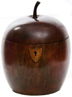 """Antique Wooden Tea Caddy ~ """"Rare 18th C English Apple Fruit Wood Tea Caddy Circa: 1785-1795 Mellow Nut Brown Patina $5750.""""  The price - WoW!, but I imagine a piece as beautiful & historic would be that expensive...the piece is truly something I've never scene before...♥"""