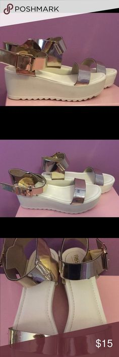 Platform sandals Cream platform sandals with gold buckle details, they were only worn twice and there are a few scuffs on the sides of the platforms but not very noticeable. Feel free to ask any questions and I'm open to offers!🌸 Mossimo Supply Co. Shoes Platforms