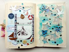 Happy little moments - my first boat Altered book (Studio Calico Atlantic)