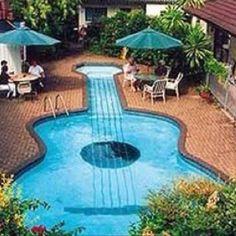 A guitar shaped pool!!! Whatttt?!?