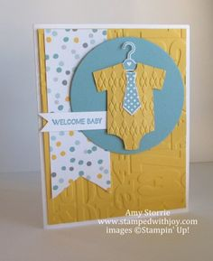 Stamps:  And Many More, Something for Baby Ink:  Lost Lagoon Paper:  Whisper White, Hello Honey, Lost Lagoon, Moonlight dsp Big Shot:  Baby's Firsts Framelits, Argyle Embossing Folder, Alphabet Press Embossing Folder, Circles Collection Framelits