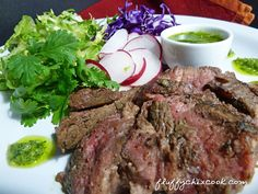 Steak and Chimichurri Salad from Fluffy Chix Cook is a great low carb keto salad to have with leftover steak.
