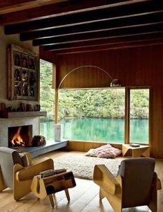 我們看到了。我們是生活@家。: 紐西蘭建築師Pete Bossley 的作品Waterfall Bay House,以木材打造天然的家,感覺樸質而溫馨!