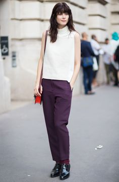 Trousers, mock neck top, and oxfords