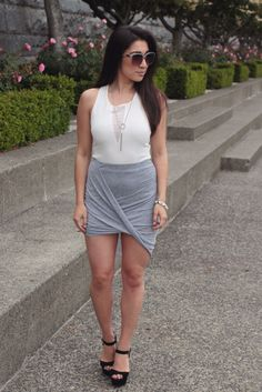 Spring fashion outfit ideas: draped grey skirt from dynamite