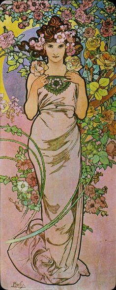 Alfons Mucha. 1898 Rose. Flowers