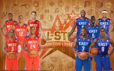 I titolari dell'All Star Game 2012. Ovest composta da: Kevin Durant, Dwight Howard, Blake Griffin, Chris Paul e Kobe Bryant. Est composta da: Lebron James, Carmelo Anthony, Kevin Garnett, Dwyane Wade e Rajon Rondo.