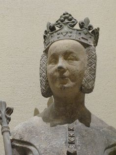 Charles V and Jeanne de Bourbon, Ile-de-France, 1365-1380. Detail of Jeanne. Braids with lovely criss-cross lacing.