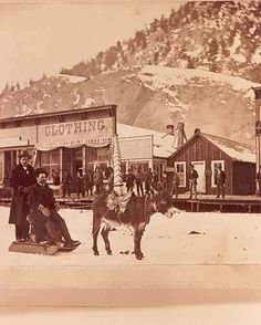 Very early downtown Lake City, CO scene of two men being pulled on a sled by a donkey.1885