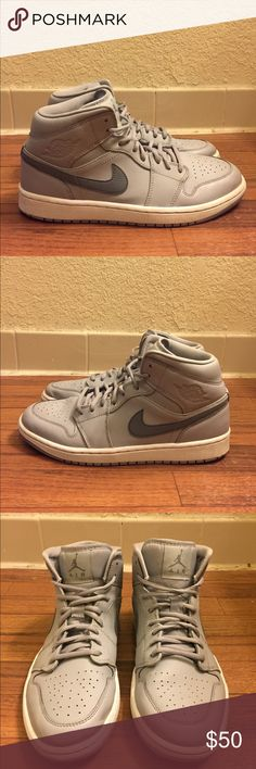 Nike Air Jordan 1 Retro Mid 554724-033 Men's Item Details: • Used: In good condition, no rips or tears. Shoes has plenty of life left. • Size: 8.5 • Style #:554724-033 • Color:Wolf Grey/Cool Grey-White  Shipping & Handling: • Item will ship same or next business day after completed payment is received. This excludes weekends.  Note: This item is extremely rare to find in this size and condition. Everything is 100% authentic guaranteed or your money will be refunded in full payment.  Feel…