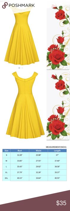 MUXXN scoop neck yellow dress Beautiful scoop neck off the shoulder retro 1950 dress. Beautiful yellow dress perfect for any occasion, costume (belle in beauty and the beast or Lala Land), wedding, party, add tulle for a great pinup style. muxxn Dresses Midi