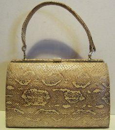 cb06b41ee Lovely vintage creamy pastel snake skin bag with snap closure. Snake skin  covered hinges.