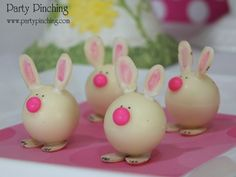 Bunny Truffles:  Lindt white chocolate truffles with almond slices dipped in white chocolate