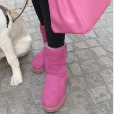 Pink Uggs Like new. Worn only once or twice. Perfect condition. No stains or marks. Fuchsia pink color. Genuine sheepskin. UGG Shoes