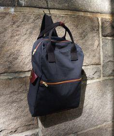 Cosmo Backpack in Black Canvas/ Men/ Messenger/ Laptop Bag/Handmade in New York/ School Bag/ Red Leather ($98.00) - Svpply