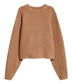 Camel. PREMIUM QUALITY. Straight-cut, rib-knit sweater in wool with long raglan sleeves.