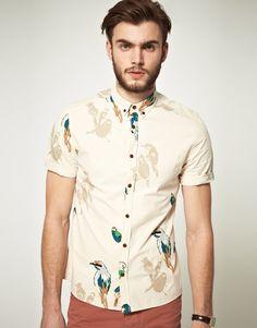 #Asos Printed #ShortSleeve Shirt in Beige (ecru)