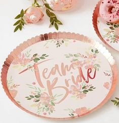 These pretty metallic rose gold TEAM BRIDE plates will be the perfect touch to a floral theme bachelorette party or bridal shower. Bachelorette Party Supplies, Bachelorette Party Decorations, Bachelorette Party Scavenger Hunt, Party Supply Store, Floral Theme, Team Bride, Rose Gold Plates, Bridal Shower, Banquet