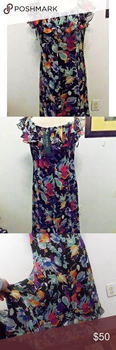 """Lauren Ralph Lauren Silk Spring Romance Dress NWT Stated size 8.  Exterior fabric 100% silk. Lined dress with back zipper closure.  Lightweight frilly, sheer silk fabric over dark solid fabric.  Bust 36""""-38"""", length from shoulder to bottom 43"""". Lauren Ralph Lauren Dresses"""
