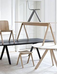 Voor een nieuwe meubelcollectie voor de recentelijk gerenoveerde universiteit van Kopenhagen is het Deense design label HAY een samenwerking aangegaan met broers en ontwerp duoRonan en Erwan Bouroullec De collectie bestaat uit een houten stoel, barkruk en verscheidene tafels en bureaus.
