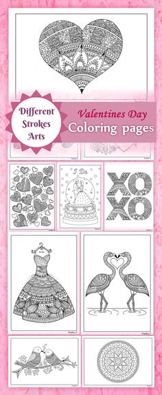 Adult Coloring Book For Valentines Day Zentangle Inspired Doodles Heart Detailed Printable Valentine Pages