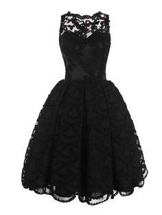 Find Dress Damen Runde Ausschnitt Spitze Kurz Cocktailkleid Partzkleid Abendkleid FD10055Schwarz 32