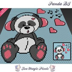 Panda DJ crochet blanket pattern; c2c, cross stitch graph; pdf download; no written counts or row-by-row instructions by TwoMagicPixels, $3.99 USD